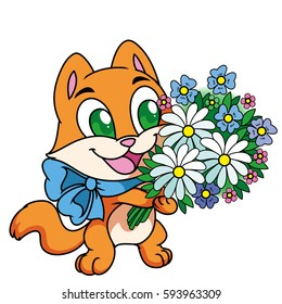 Orange, red bright cartoon kitten with blue ribbon, with bouquet of different flowers(chamomiles)