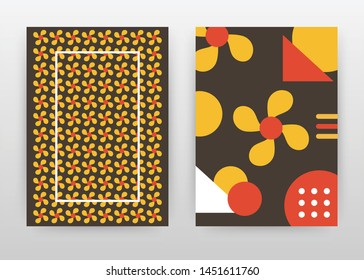 Orange red flower petal seamless texture design for annual report, brochure, flyer, poster. Geometric Flower background vector illustration for leaflet, poster. Business abstract A4 brochure template.