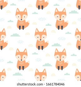 Orange red fox sitting on the field seamless background repeating pattern, wallpaper background, cute seamless pattern background