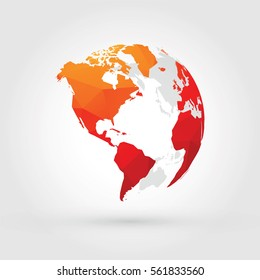 orange red globe north, central and south america