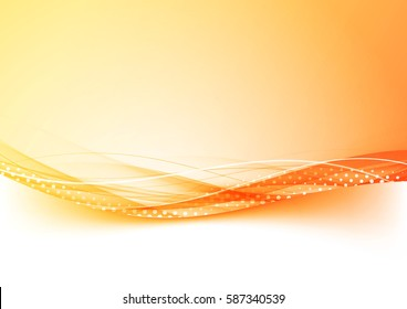 Orange and red gradient border abstract background with dotted speed wind swoosh transparent lines. Vector illustration