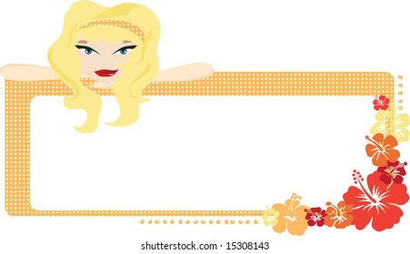 Orange and red Hibiscus-dotted frame with a blonde girl leaning on top