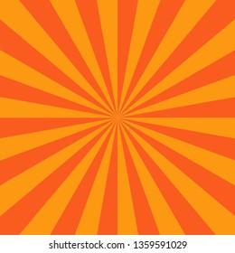 Orange red radial stripes sunburst