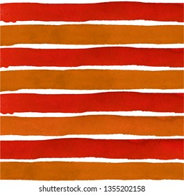 orange, red Watercolor hand painted brush strokes, striped background - Vector Illustration