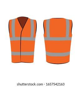 Orangefarbene Reflektive Sicherheitsweste für Menschen einzeln auf Vektorillustration und hinten zur Förderung auf weißem Hintergrund