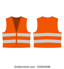 orange reflective safety vest for people isolated vector front and back for promotion on the white background