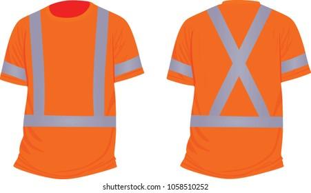 Orange reflective t shirt. vector illustration