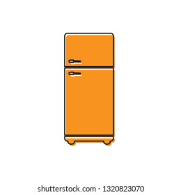 Orange Refrigerator icon isolated on white background. Fridge freezer refrigerator. Household tech and appliances. Vector Illustration