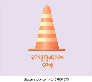 Orange restrictive cone for road works and construction