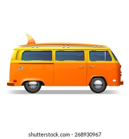 Orange retro bus with surf boards realistic isolated on white background vector illustration