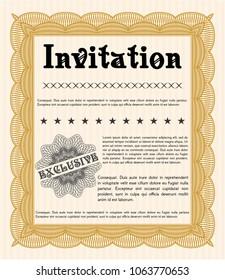 Orange Retro invitation. Artistry design. Detailed. With background.