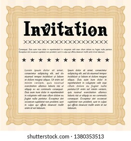 Orange Retro invitation template. Complex background. Customizable, Easy to edit and change colors. Elegant design.