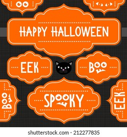 Orange retro shaped frames with Halloween wishes and quotes isolated on dark background autumn holiday sticker set