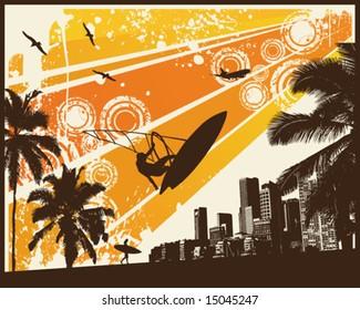 Orange Retro Sunset Surfer Palm City