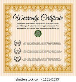 Orange Retro Warranty Certificate template. Superior design. With great quality guilloche pattern. Detailed.