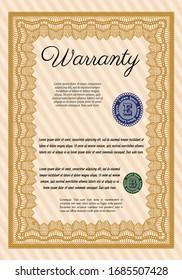 Orange Retro Warranty template. Printer friendly. Money design. Detailed.