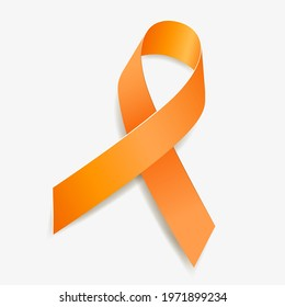 Orange ribbon awareness Kidney Cancer, Leukemia, Limb Difference, Multiple Sclerosis, Skin Cancer. Isolated on white background. Vector  illustration.