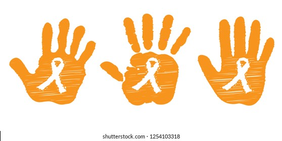Orange ribbon Leukemia cancer awareness month World Vector eps November wording about kidney Day elimination of Violence Against Women Blood vessels with disease spots Acute lymphoblastic dna