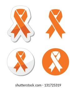 Orange ribbon - leukemia, hunger, humane treatment of animals sign