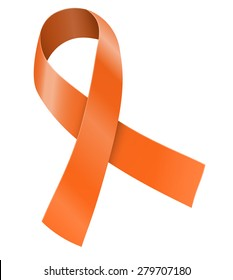 Orange ribbon. Leukemia, multiple sclerosis and other awareness symbol. Vector illustration