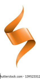 orange ribbon on white background. Vector illustration