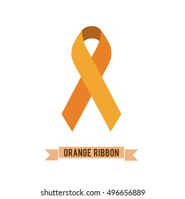 Orange ribbon - symbol leukemia, Multiple Sclerosis awareness, self injury, reflex sympathetic dystrophy (RSD), skin cancer, Underage Drinking, Deep Vein Thrombosis, kidney cancer awareness