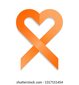 Orange ribbon vector illustration in heart shape for support and awareness campaigns. Symbol of Multiple Sclerosis, self injury and leukemia.