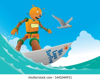 Orange robot surfer rides the ocean wave  with seagull.