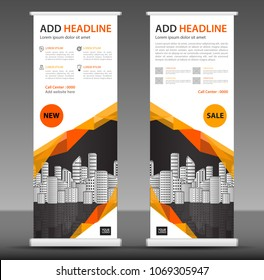 Orange Roll up banner stand template design, business brochure flyer, infographics, presentation, advetisement, marketing, ads, poster, polygon backgrond, display, x-banner, flage-banner, exhibition