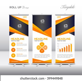 Orange Roll Up Banner template and info graphics elements, stand design, advertisement, display
