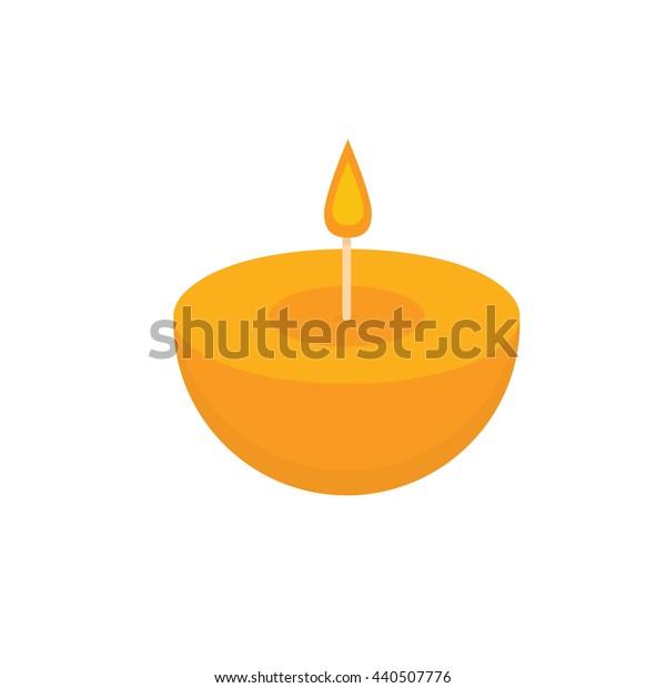 Orange round aroma candle Spa. Vector illustration.