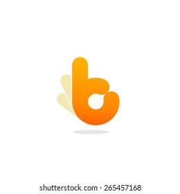 Orange round hand showing that everything is okay. Symbol of approval and adoption. Quality work vector logo.