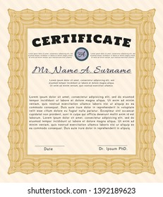Orange Sample certificate or diploma. With quality background. Elegant design. Customizable, Easy to edit and change colors.