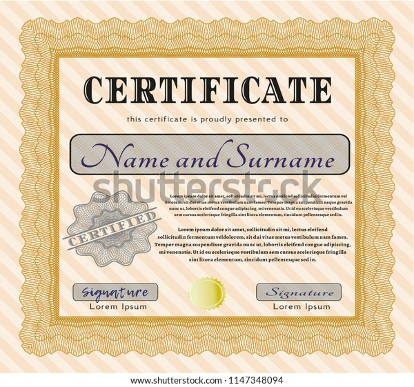 Orange Sample Certificate. With guilloche pattern and background. Excellent design. Vector illustration.