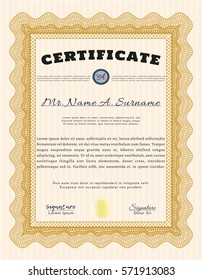 Orange Sample Diploma. With linear background. Retro design. Customizable, Easy to edit and change colors.