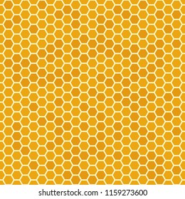 Orange seamless honey combs pattern. Honeycomb texture, hexagonal honeyed geometric bee wax comb grid cell texture, beeswax yellow organic product or fabric vector background