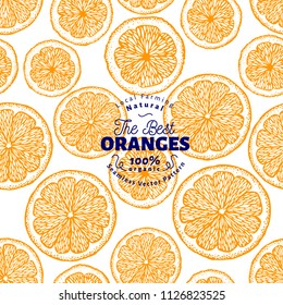 Orange seamless pattern. Hand drawn vector fruit background. Engraved style. Vintage citrus illustration.