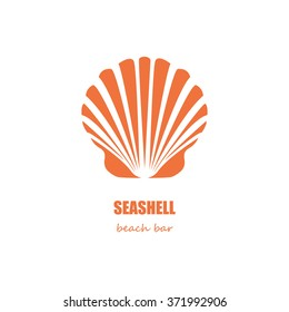 Orange seashell silhouette beach bar company or restaurant logo