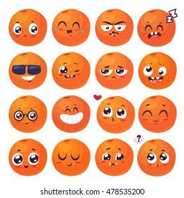 Orange set of funny smiles. Fruit and food collection. Vector cartoon illustration. Cute stylish characters.