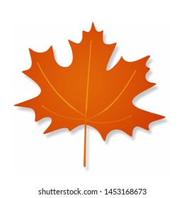 Orange shadow vector maple leaf isolated on white background