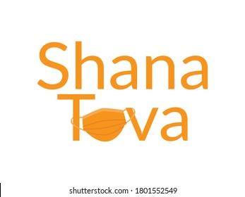 Orange Shana Tova, Jewish happy new year Rosh Hashanah greeting with Orange face mask