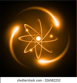orange Shining atom scheme. Vector illustration. dark background. digital. infographics. Abstract Technology background for computer graphic website internet and business. circuit.
