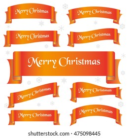 orange shiny color merry christmas slogan curved ribbon banners eps10