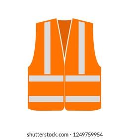 Orange signal vest with reflective stripes. Vector illustration