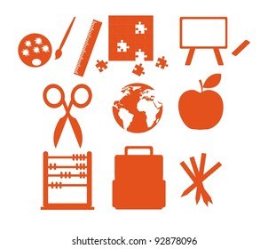 orange silhouettes school elements isolated over white background. vector