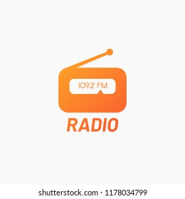 Orange simple radio logo. Icon for online radio station