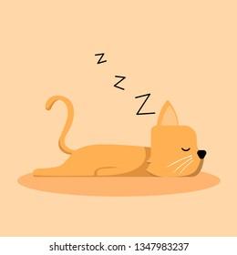 Orange Sleeping Cat Cartoon Vector, for design, banner, logo