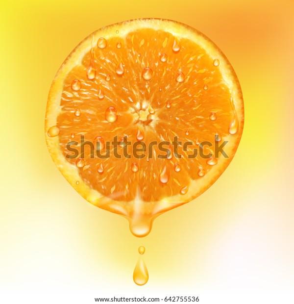 Orange Slice Drops Juice Orange Juice Stock Vector (Royalty