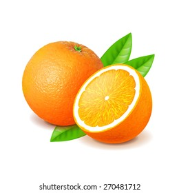 Orange and slice isolated on white photo-realistic vector illustration