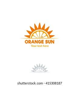 Orange slice and sun logo. Vector illustration on white background.